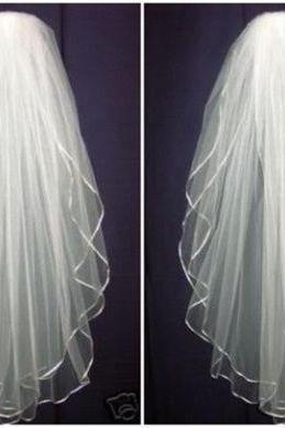 Veil ,New White/Ivory 2T Wedding Bridal Veil Elbow Length Satin Edge With Comb