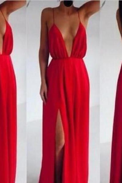 Long prom dress, backless prom dress, summer prom dress, beach prom dress, cheap prom dress, simple prom dress, red prom dress, chiffon prom dress, sexy prom dress, evening party dress,