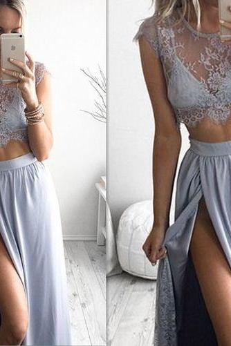 Two Piece Prom Dresses,Gray Two Piece Prom Dress, Lace Formal Gown,Evening Gowns