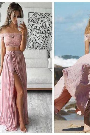 Two Pieces Prom Dress,Off Shoulder Prom Dress,Side Silt Prom Dress