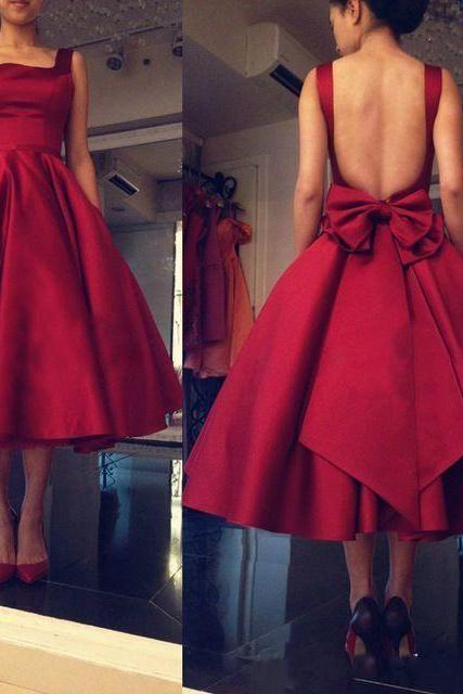 Burgundy Prom Dresses, Tea Length Prom Dresses 2017, Sexy Backless Burgundy Prom Dress, Cheap Burgundy Party Dress, A Line Burgundy Prom Dress, Burgundy Party Dress With Bow Knot, Cheap Burgundy Gala Dresses