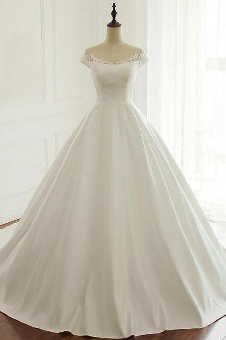 Long Wedding Dress, Satin Wedding Dress, Applique Wedding Dress, Sexy Bridal Dress,