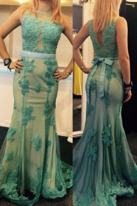 Appliques Round Neck Mermaid Tulle Prom Dresses Prom Gowns,Prom Dresses , Cheap Prom Dresses, Long Prom Dress