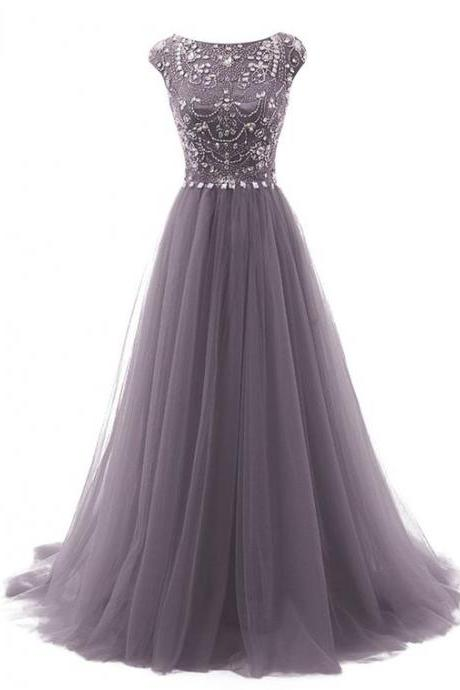 Grey Floor Length Prom Dress,Tulle A-Line Prom Dresses,Featuring Beaded Embellished Cap Sleeves Bodice Formal Dress